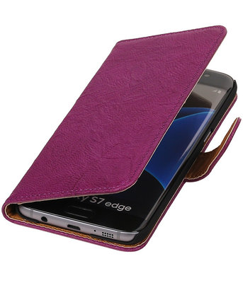 Paars Echt Leer Leder booktype wallet cover voor Hoesje voor Samsung Galaxy S7 Edge