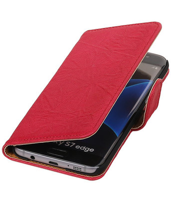 Rozeâ‹ Echt Leer Leder booktype wallet cover voor Hoesje voor Samsung Galaxy S7 Edge