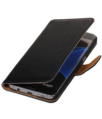 Zwart Effen Booktype Hoesje voor Samsung Galaxy S7 Plus Wallet Cover