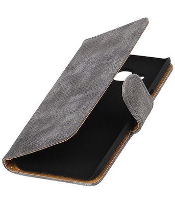 Grijs Mini Slang booktype wallet cover voor Hoesje voor LG K4
