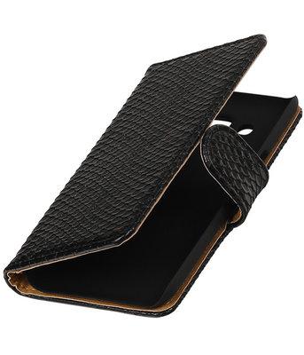 Zwart Slang booktype wallet cover voor Hoesje voor LG K4