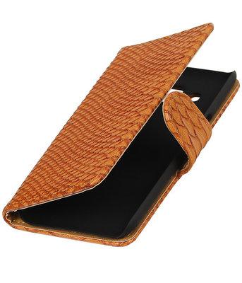 Bruin Slang booktype wallet cover voor Hoesje voor LG K4