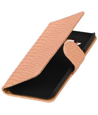 Roze Slang booktype wallet cover voor Hoesje voor LG K4