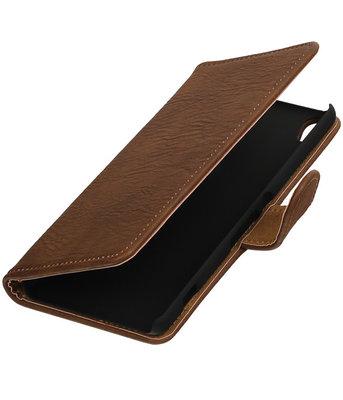 Bruin Hout booktype wallet cover voor Hoesje voor Sony Xperia XA