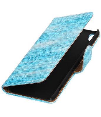 Turquoise Mini Slang booktype wallet cover voor Hoesje voor Sony Xperia XA