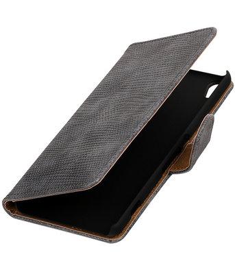 Grijs Mini Slang booktype wallet cover voor Hoesje voor Sony Xperia XA