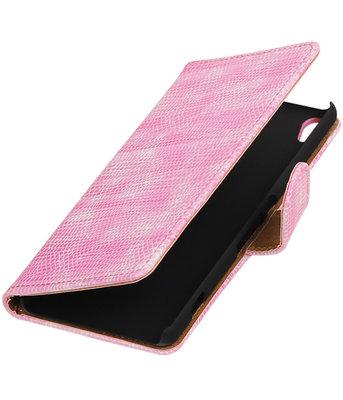 Roze Mini Slang booktype wallet cover voor Hoesje voor Sony Xperia XA