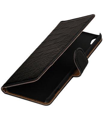 Zwart Krokodil booktype wallet cover voor Hoesje voor Sony Xperia XA