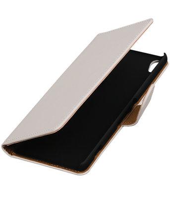 Wit Effen booktype wallet cover voor Hoesje voor Sony Xperia XA