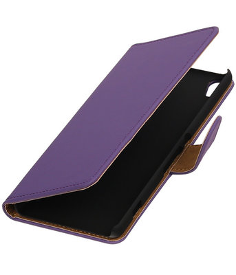 Paars Effen booktype wallet cover voor Hoesje voor Sony Xperia XA