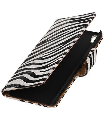 Zebra booktype wallet cover voor Hoesje voor Sony Xperia XA