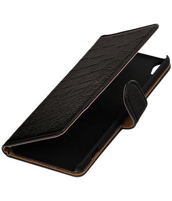 Zwart Krokodil booktype wallet cover voor Hoesje voor Wiko Lenny 2