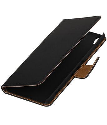 Zwart Effen booktype wallet cover voor Hoesje voor Wiko Lenny 2