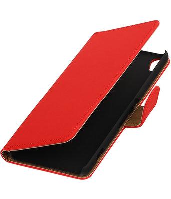 Rood Effen booktype wallet cover voor Hoesje voor Wiko Lenny 2