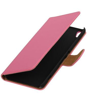 Roze Effen booktype wallet cover voor Hoesje voor Wiko Lenny 2