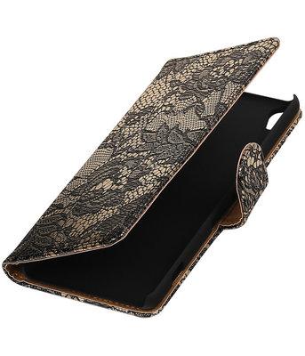 Zwart Lace booktype wallet cover hoesje voor HTC Desire 626 / 628
