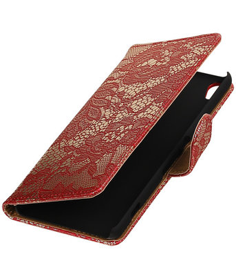 Rood Lace booktype wallet cover hoesje voor HTC Desire 626 / 628