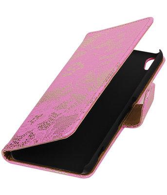 Roze Lace booktype wallet cover voor Hoesje voor HTC Desire 626 / 628