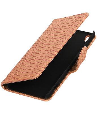 Roze Slang booktype wallet cover voor Hoesje voor HTC Desire 626 / 628