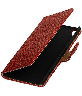 Rood Slang booktype wallet cover voor Hoesje voor HTC Desire 626 / 628