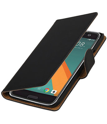 Zwart Effen booktype wallet cover voor Hoesje voor HTC 10