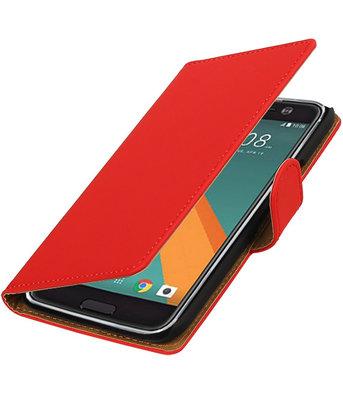 Rood Effen booktype wallet cover voor Hoesje voor HTC 10