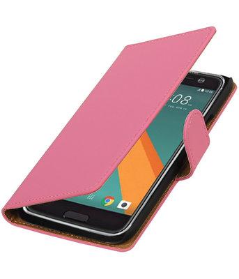Roze Effen booktype wallet cover voor Hoesje voor HTC 10