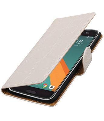 Wit Krokodil booktype wallet cover voor Hoesje voor HTC 10