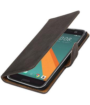 Grijs Hout booktype wallet cover voor Hoesje voor HTC 10