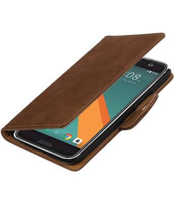 Bruin Hout booktype wallet cover voor Hoesje voor HTC 10