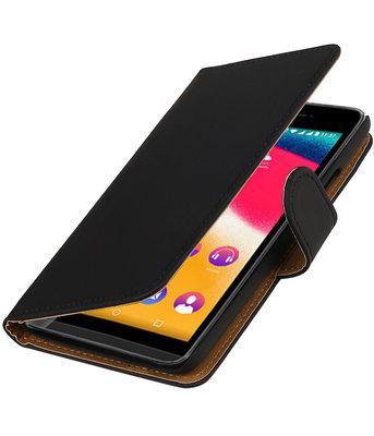 Zwart Effen booktype wallet cover voor Hoesje voor Wiko Rainbow Jam