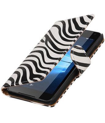 Zebra booktype cover voor Hoesje voor Microsoft Lumia 650