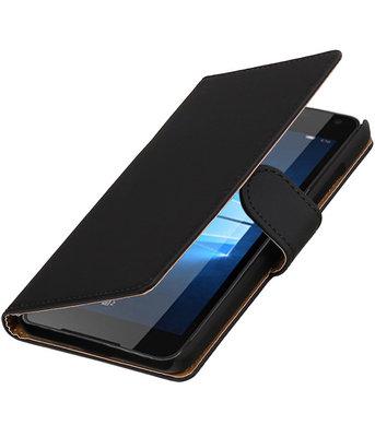 Zwart Effen booktype cover voor Hoesje voor Microsoft Lumia 650