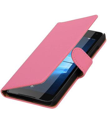 Roze Effen booktype cover voor Hoesje voor Microsoft Lumia 650