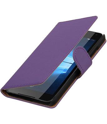 Paars Effen booktype cover voor Hoesje voor Microsoft Lumia 650