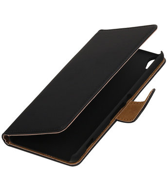 Zwart Effen booktype wallet cover hoesje voor Samsung Galaxy Young 2