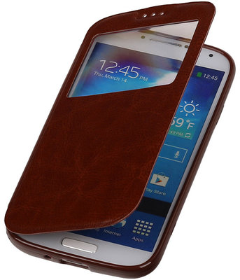 Polar View Map Case Bruin Hoesje voor Samsung Galaxy S3 I9300 TPU Bookcover