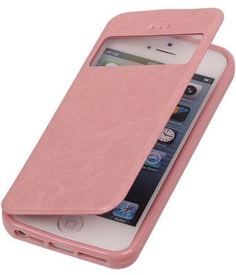 Polar View Map Case Licht Roze Hoesje voor Apple iPhone 5 / 5S / SE TPU Bookcover
