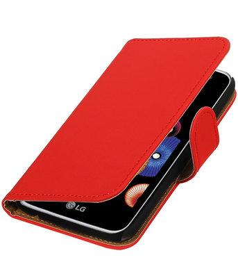 Rood Effen booktype cover voor Hoesje voor LG K4