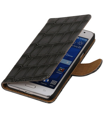 Grey Croco Hoesje voor Samsung Galaxy Grand Prime Book/Wallet Case/Cover