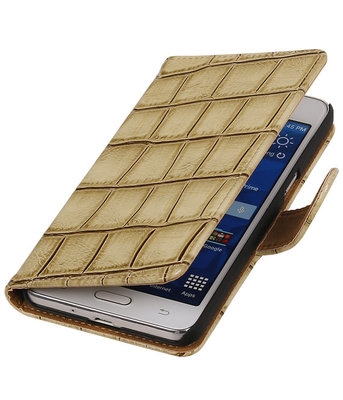 Beige Croco Hoesje voor Samsung Galaxy Grand Prime Book/Wallet Case/Cover