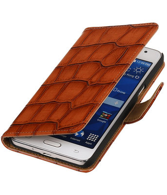 Bruin Croco Hoesje voor Samsung Galaxy Grand Prime Book/Wallet Case/Cover