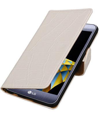 Wit Krokodil booktype wallet cover hoesje voor LG X Cam