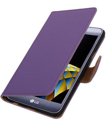 Paars Effen booktype wallet cover hoesje voor LG X Cam