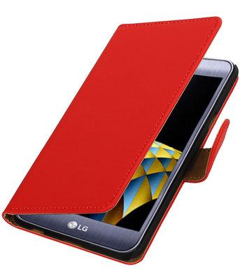 Rood Effen booktype wallet cover hoesje voor LG X Cam
