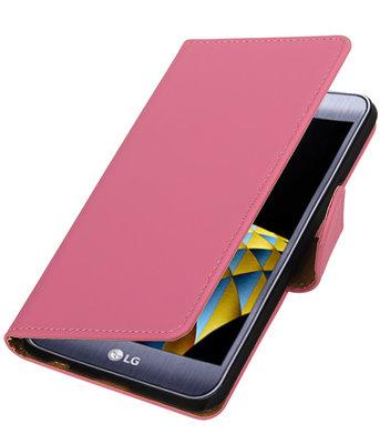 Roze Effen booktype wallet cover hoesje voor LG X Cam