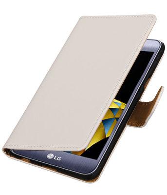 Wit Effen booktype wallet cover hoesje voor LG X Cam