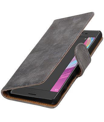 Grijs Mini Slang booktype cover voor Hoesje voor Sony Xperia X Performance