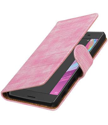 Roze Mini Slang booktype cover voor Hoesje voor Sony Xperia X Performance
