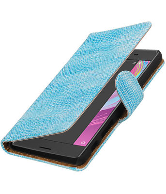 Turquoise Mini Slang booktype cover voor Hoesje voor Sony Xperia X Performance